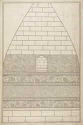 Four drawings of details of carvings on the Dhamekh Stupa at Sarnath: The west niche.
